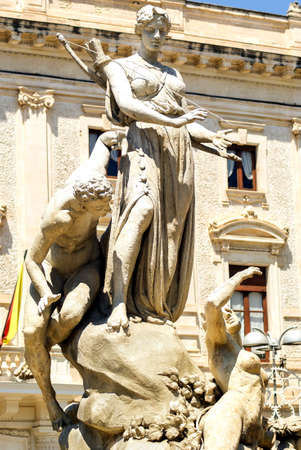 The Diana Fountain on Archimedes Square in Syracuse, Sicily - Italy. Archivio Fotografico