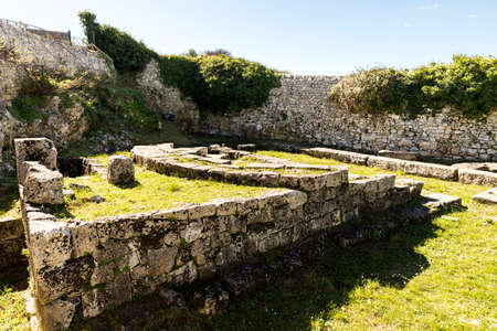 Sights of The Archaeological Zone - The Bouleuterion in Palazzolo Acreide, Province of Syracuse, Italy. 스톡 콘텐츠