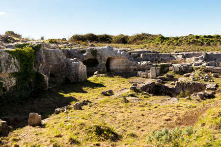 Panoramic Views of The Central Area in The Archeological Zone of Akrai in Palazzolo Acreide, Sicily, Italy. 版權商用圖片