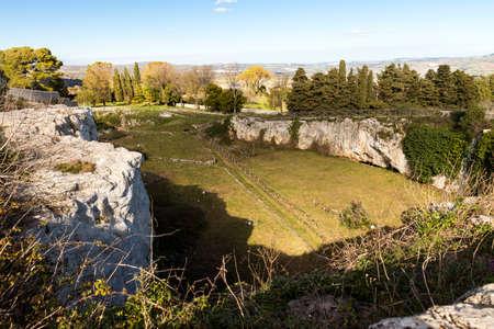 Natural Sights of Latomia dell Intagliata in Palazzolo Acreide, Province of Syracuse, Italy.
