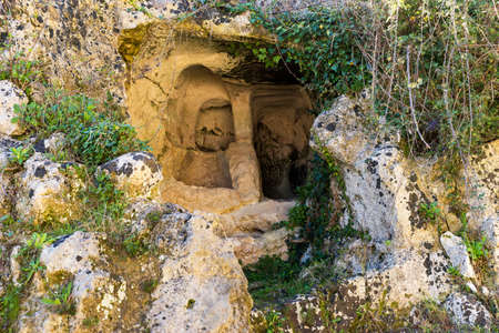 Archaeological Sights of Latomia dell Intagliata in Palazzolo Acreide, Province of Syracuse, Italy.