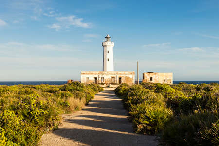 Wonderful Sights of Capo Murro di Porco Lighthouse in Syracuse, Sicily, Italy.