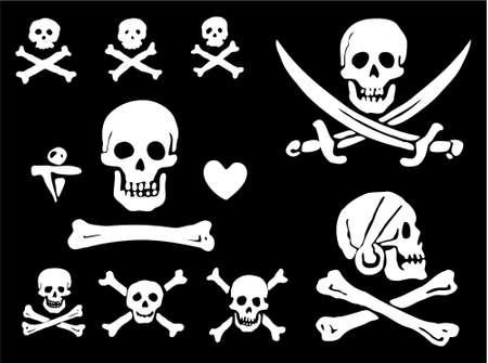 drapeau pirate: Un ensemble de drapeaux de pirate, des crânes et des os Illustration