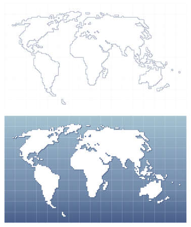 Pixel world map  Vector