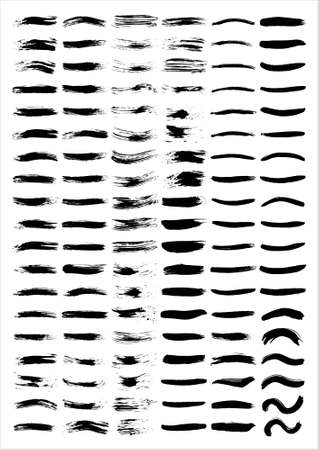 A set of vectorized grungy brush lines Illustration