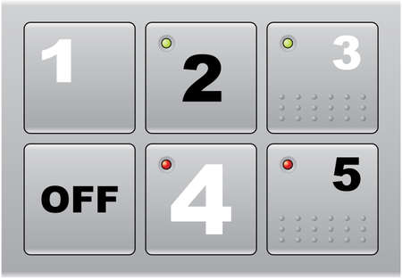 A set of square metallic buttons