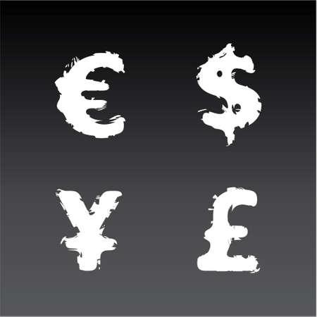 Grunge W�hrungssymbole (Euro, Dollar, Pfund, Yen) Illustration