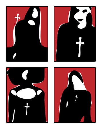 Rough sketches of girls with crosses in black white and red