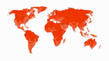 Painted world map - red Stock Photo