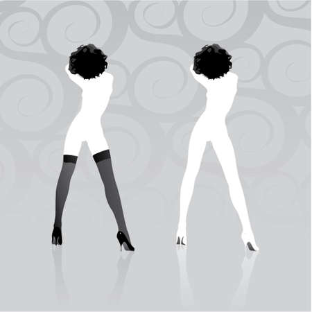 Two woman silhouettes