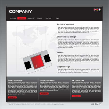 Sauber Web Site Design-Vorlage in schwarz, wei�, grau und rot
