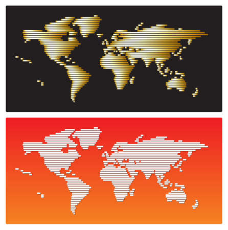 World map - golden and white stripes