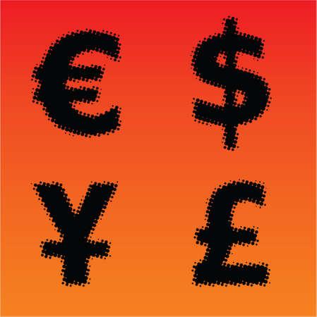 Halftone currency symbols
