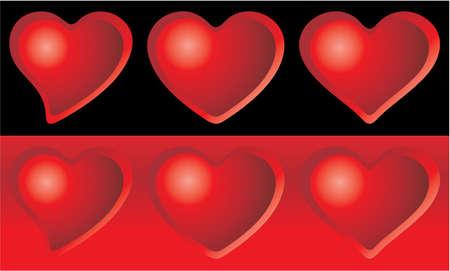 Eine Reihe von sechs Herzen