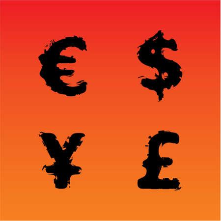 Grunge vector currency symbols (Euro, Dollar, Pound, Yen) Illustration
