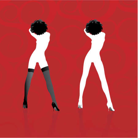 Two woman silhouettes in vector format Illustration