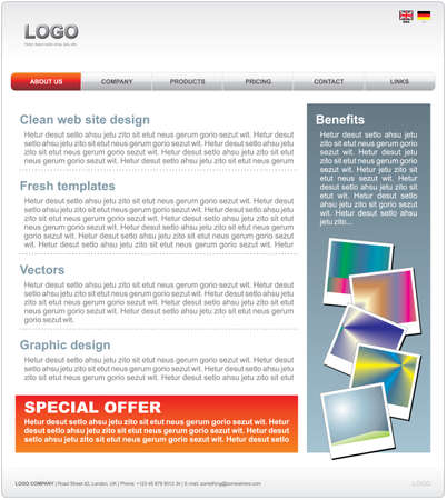Clean WEB 2.0 website template in vector format