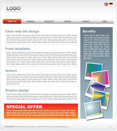 Clean WEB 2.0 website template in vector format