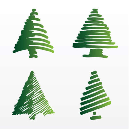 A set of vector Christmas trees Vector
