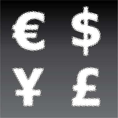 Halftone vector currency symbol