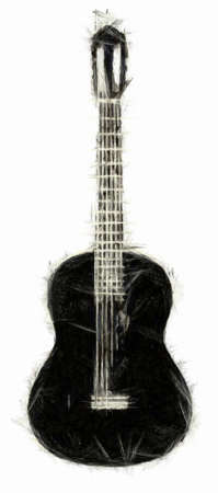 Acoustic Guitar Drawing Stock Photo
