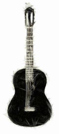 Acoustic Guitar Drawing Standard-Bild