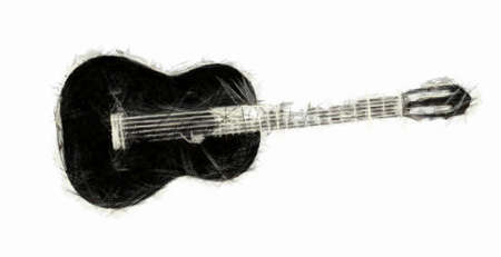 rockabilly: Acoustic Guitar Drawing Stock Photo
