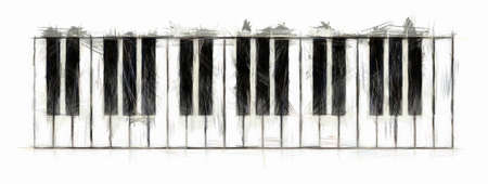 teclado de piano: Dibujo de teclado piano Foto de archivo