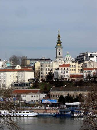 Belgrad Blick auf die Stadt von der Donau Docks Lizenzfreie Bilder