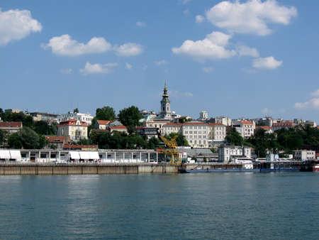 Belgrade city view from the Danube river  docks