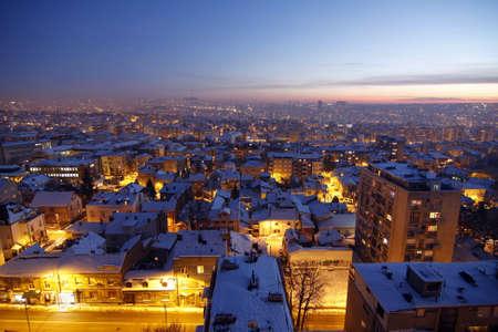 Sonnenuntergang �ber Belgrad mit Schnee bedeckt Lizenzfreie Bilder