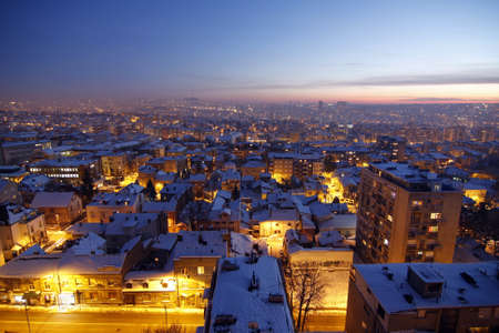 Sunset over Belgrade Covered by Snow  photo