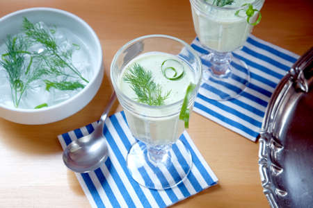 Cucumber soup - cold served healthy meal Stock Photo