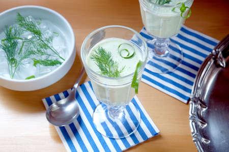Cucumber soup - cold served healthy meal Standard-Bild