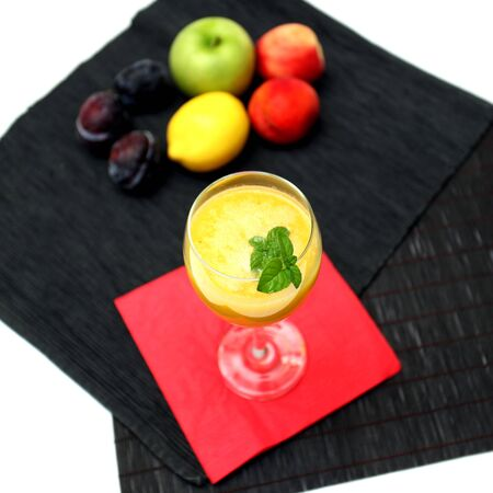 Mango smoothie served in a glass