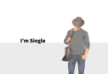illustration i am single with white background 스톡 콘텐츠
