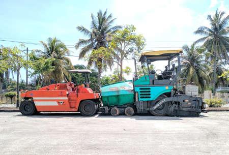 Malaysia, Kuala Terengganu 27 Ogos 2020 : vehicle machinery makes road tar