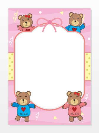 Cute Blank Card Template With Bear Vector