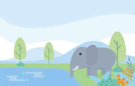 Elephant in jungle vector illustration
