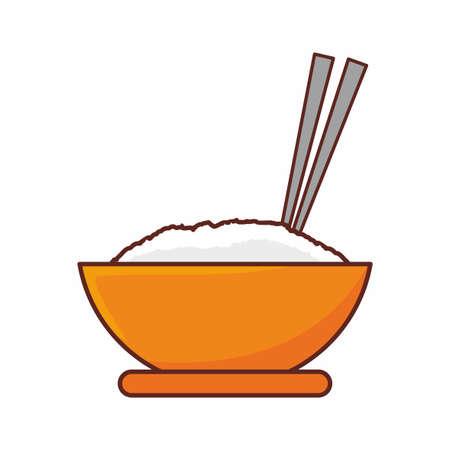 Bowl of rice with chopstick cartoon illustration Vettoriali