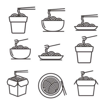 Set of noodle icon, noodle vector illustration with simple outline design Ilustração