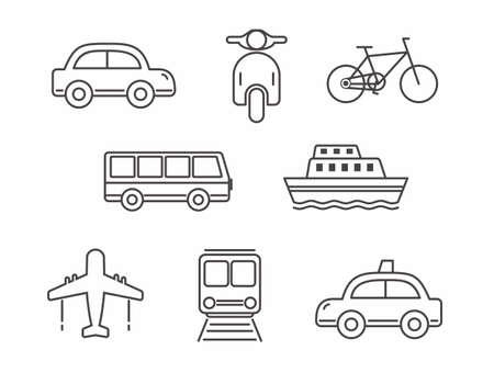 Conjunto de diseño de línea de icono de transporte, transporte