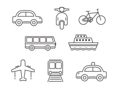 Set of transportation icon line design, transportation