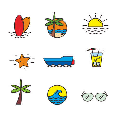 Set of beach related vector illustration, beach related icons