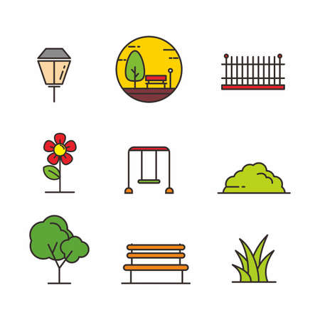Set of park related icon, park related vector illustration
