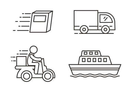 Ensemble d'icônes de livraison et d'expédition avec conception de contour Vecteurs