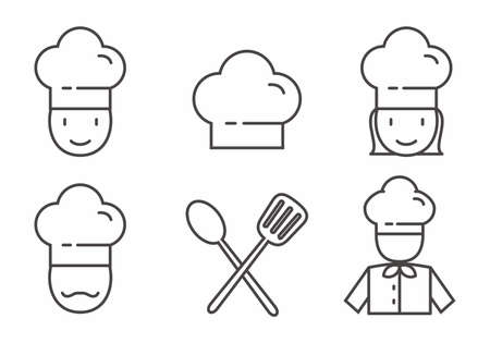 Ensemble d'icône de chef avec dessin de contour. Illustration vectorielle de chef