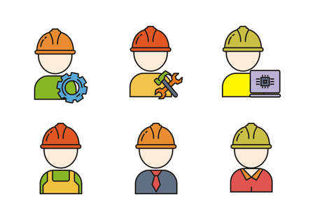 Set of engineer vector illustration. Engineer icons