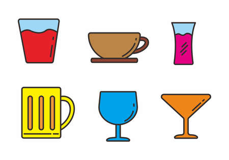 Set of drink glass icon with outline design. Set of drink glass vector illustration 矢量图像