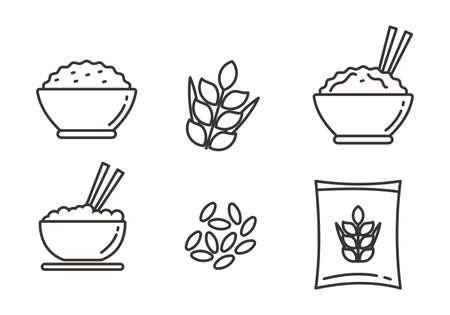 Ensemble d'illustration vectorielle de riz. Ensemble d'icônes de riz avec design de ligne